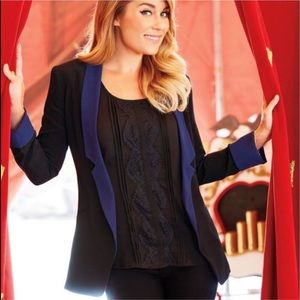 Lauren Conrad  Black blue trim blazer jacket